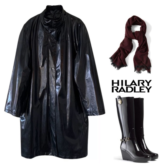Hilary Radley Jackets & Blazers - HILARY RADLEY BLACK WOOL LINED RAIN TRENCH COAT